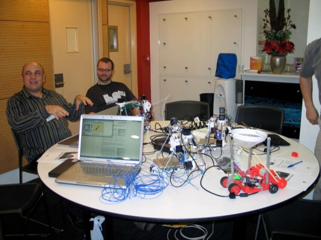 Hackerspace, 3 RepRap Huxleys and an egg-catching robot